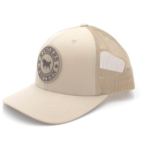 1e64159ce0781 The Ringers Western Signature Bull Trucker features the signature bull  woven patch